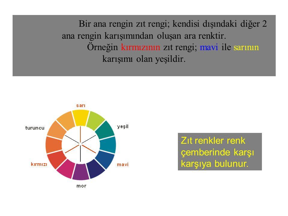 Bir ana rengin zıt rengi; kendisi dışındaki diğer 2 ana rengin karışımından oluşan ara renktir. Örneğin kırmızının zıt rengi; mavi ile sarının karışım