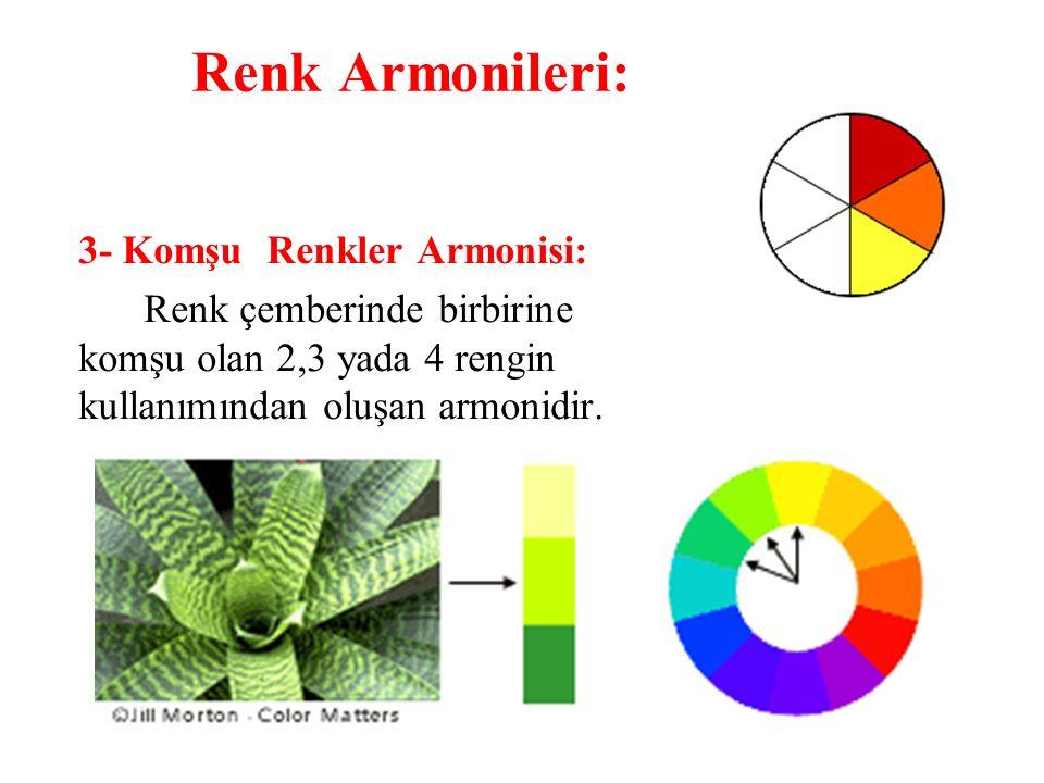 3- Komşu Renkler Armonisi: Renk çemberinde birbirine komşu olan 2,3 yada 4 rengin kullanımından oluşan armonidir. Renk Armonileri: