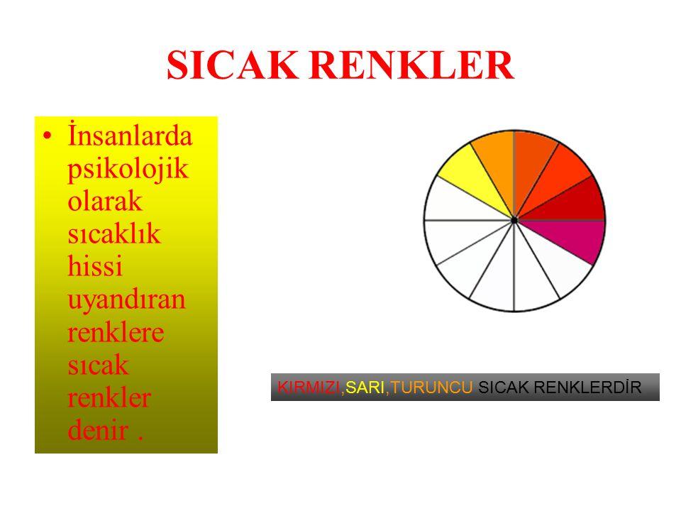 SICAK RENKLER İnsanlarda psikolojik olarak sıcaklık hissi uyandıran renklere sıcak renkler denir. KIRMIZI,SARI,TURUNCU SICAK RENKLERDİR