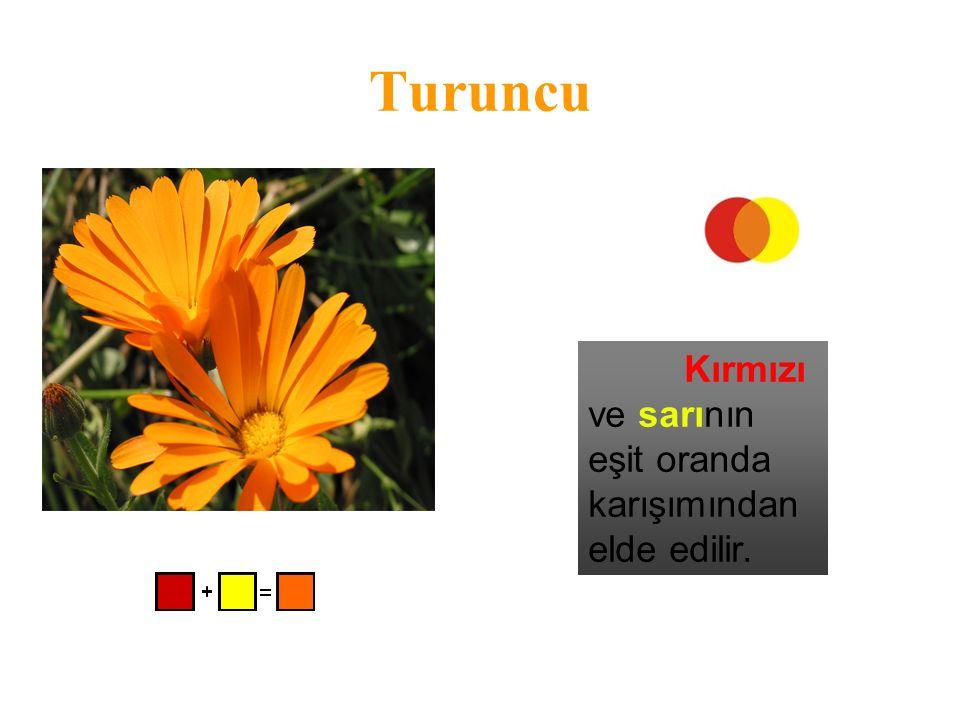 Turuncu Kırmızı ve sarının eşit oranda karışımından elde edilir.