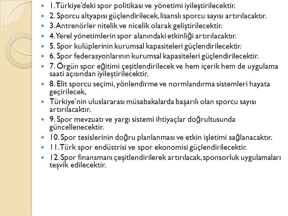 1. Türkiye'deki spor politikası ve yönetimi iyileştirilecektir. 2. Sporcu altyapısı güçlendirilecek, lisanslı sporcu sayısı artırılacaktır. 3. Antrenö
