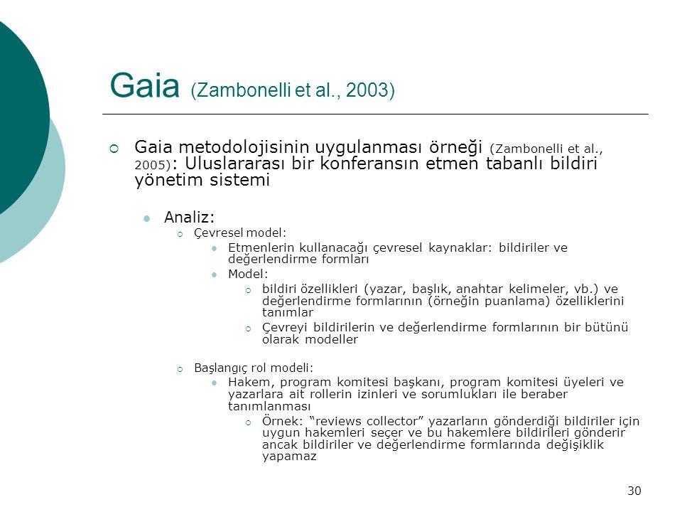 30 Gaia (Zambonelli et al., 2003)  Gaia metodolojisinin uygulanması örneği (Zambonelli et al., 2005) : Uluslararası bir konferansın etmen tabanlı bildiri yönetim sistemi Analiz:  Çevresel model: Etmenlerin kullanacağı çevresel kaynaklar: bildiriler ve değerlendirme formları Model:  bildiri özellikleri (yazar, başlık, anahtar kelimeler, vb.) ve değerlendirme formlarının (örneğin puanlama) özelliklerini tanımlar  Çevreyi bildirilerin ve değerlendirme formlarının bir bütünü olarak modeller  Başlangıç rol modeli: Hakem, program komitesi başkanı, program komitesi üyeleri ve yazarlara ait rollerin izinleri ve sorumlukları ile beraber tanımlanması  Örnek: reviews collector yazarların gönderdiği bildiriler için uygun hakemleri seçer ve bu hakemlere bildirileri gönderir ancak bildiriler ve değerlendirme formlarında değişiklik yapamaz