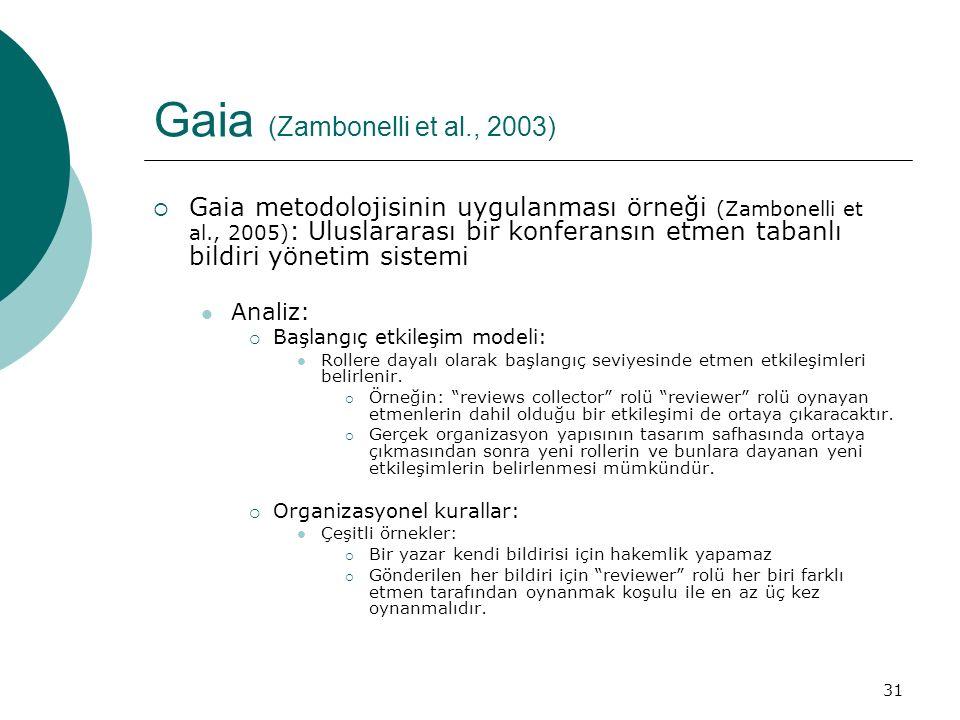31 Gaia (Zambonelli et al., 2003)  Gaia metodolojisinin uygulanması örneği (Zambonelli et al., 2005) : Uluslararası bir konferansın etmen tabanlı bildiri yönetim sistemi Analiz:  Başlangıç etkileşim modeli: Rollere dayalı olarak başlangıç seviyesinde etmen etkileşimleri belirlenir.