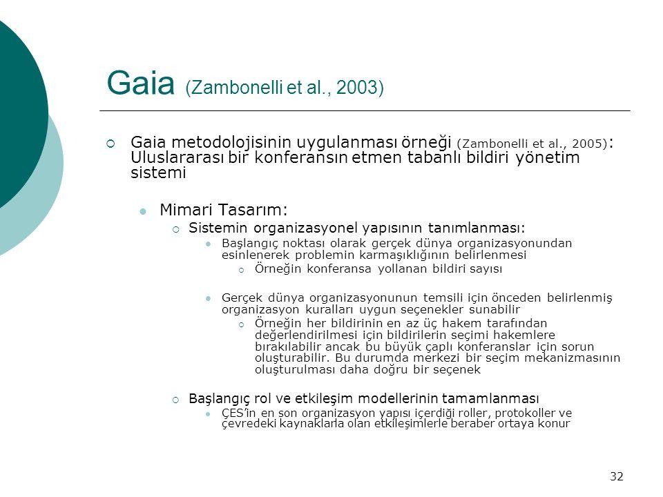 32 Gaia (Zambonelli et al., 2003)  Gaia metodolojisinin uygulanması örneği (Zambonelli et al., 2005) : Uluslararası bir konferansın etmen tabanlı bildiri yönetim sistemi Mimari Tasarım:  Sistemin organizasyonel yapısının tanımlanması: Başlangıç noktası olarak gerçek dünya organizasyonundan esinlenerek problemin karmaşıklığının belirlenmesi  Örneğin konferansa yollanan bildiri sayısı Gerçek dünya organizasyonunun temsili için önceden belirlenmiş organizasyon kuralları uygun seçenekler sunabilir  Örneğin her bildirinin en az üç hakem tarafından değerlendirilmesi için bildirilerin seçimi hakemlere bırakılabilir ancak bu büyük çaplı konferanslar için sorun oluşturabilir.