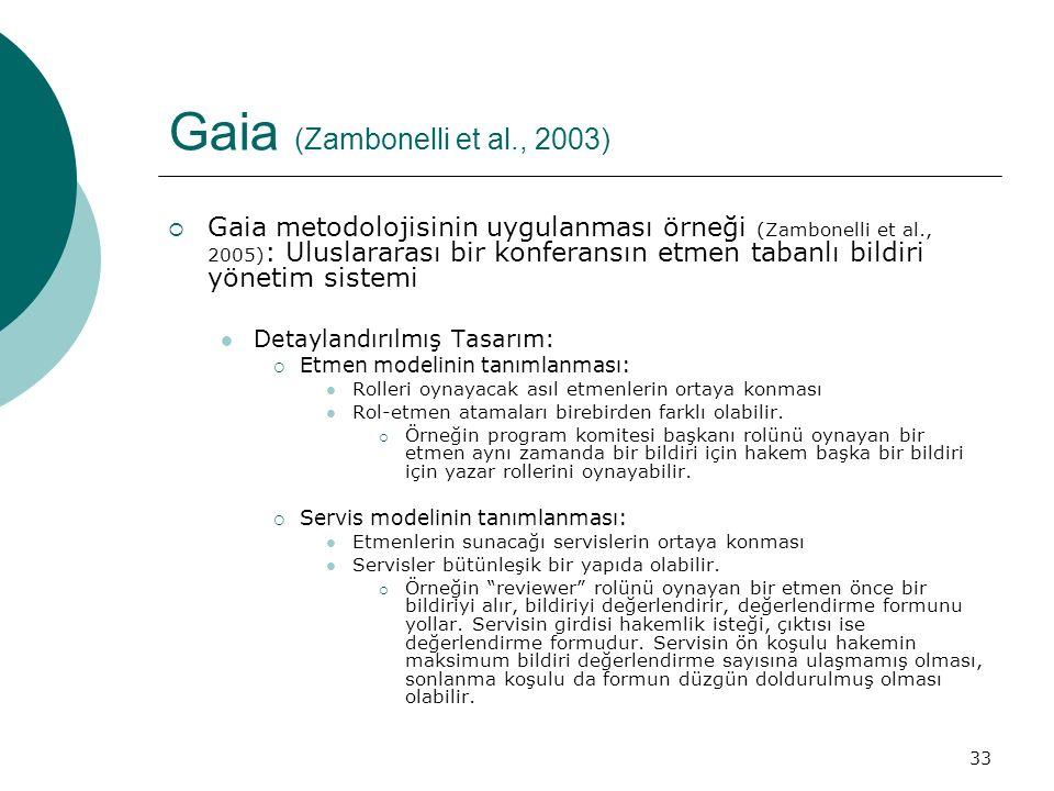 33 Gaia (Zambonelli et al., 2003)  Gaia metodolojisinin uygulanması örneği (Zambonelli et al., 2005) : Uluslararası bir konferansın etmen tabanlı bildiri yönetim sistemi Detaylandırılmış Tasarım:  Etmen modelinin tanımlanması: Rolleri oynayacak asıl etmenlerin ortaya konması Rol-etmen atamaları birebirden farklı olabilir.