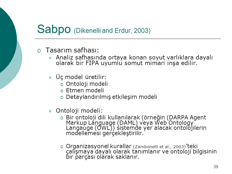39 Sabpo (Dikenelli and Erdur, 2003)  Tasarım safhası: Analiz safhasında ortaya konan soyut varlıklara dayalı olarak bir FIPA uyumlu somut mimari inş