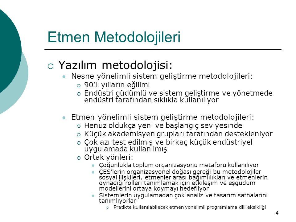4 Etmen Metodolojileri  Yazılım metodolojisi: Nesne yönelimli sistem geliştirme metodolojileri:  90'lı yılların eğilimi  Endüstri güdümlü ve sistem