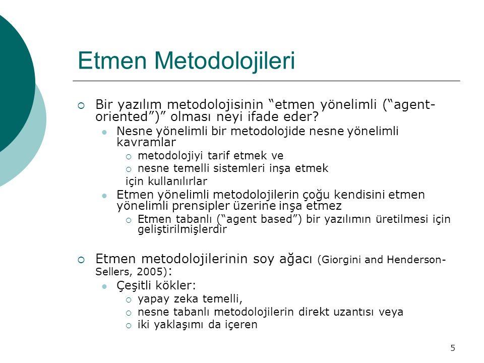 """5 Etmen Metodolojileri  Bir yazılım metodolojisinin """"etmen yönelimli (""""agent- oriented"""")"""" olması neyi ifade eder? Nesne yönelimli bir metodolojide ne"""