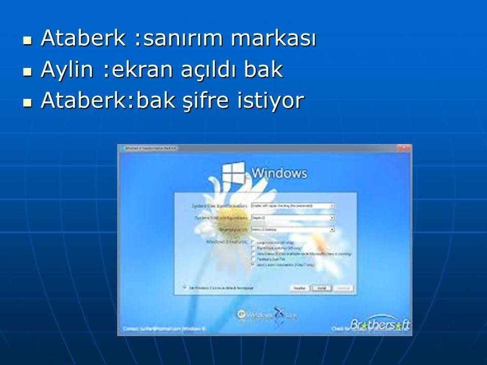 Haydi yapalım bölüm bir Aylin: Şimdi bilgisiyarı açalım Ataberk: Açıldı Aylin :ekrandaki yazı ne yazızı biliyormusun.