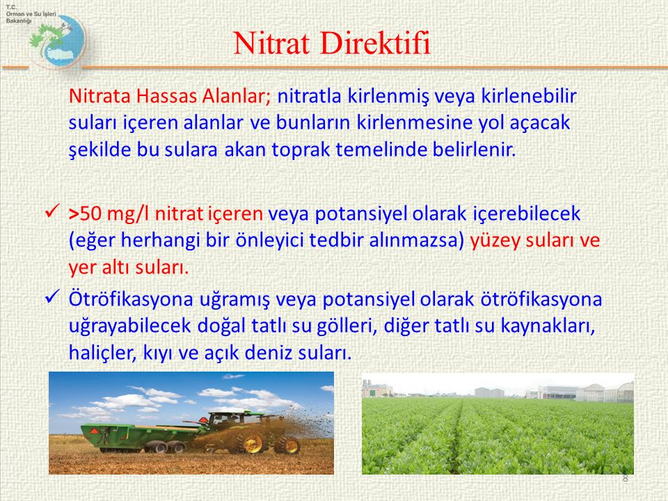 Nitrat Direktifi Nitrata Hassas Alanlar; nitratla kirlenmiş veya kirlenebilir suları içeren alanlar ve bunların kirlenmesine yol açacak şekilde bu sul