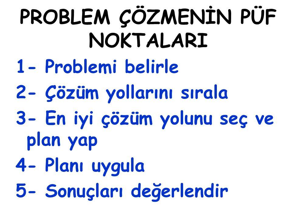 PROBLEM ÇÖZMENİN PÜF NOKTALARI 1- Problemi belirle 2- Çözüm yollarını sırala 3- En iyi çözüm yolunu seç ve plan yap 4- Planı uygula 5- Sonuçları değerlendir