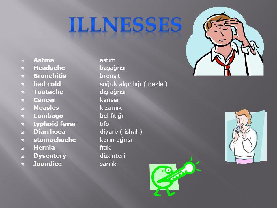  Astmaastım  Headachebaşağrısı  Bronchitisbronşit  bad coldsoğuk algınlığı ( nezle )  Tootachediş ağrısı  Cancerkanser  Measleskızamık  Lumbagobel fıtığı  typhoid fevertifo  Diarrhoeadiyare ( ishal )  stomachachekarın ağrısı  Herniafıtık  Dysenterydizanteri  Jaundicesarılık