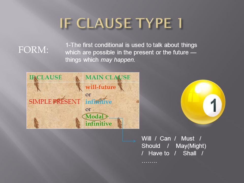 FORM: IF CLAUSEMAIN CLAUSE SIMPLE PRESENT will-future or infinitive or Modal + infinitive Will / Can / Must / Should / May(Might) / Have to / Shall /