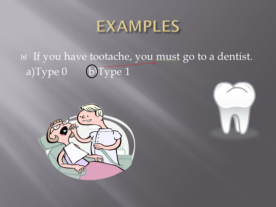  If you have tootache, you must go to a dentist. a)Type 0 b)Type 1