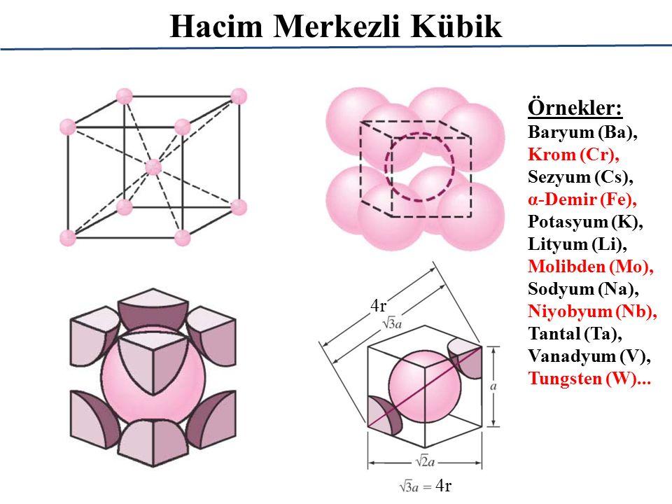 Hacim Merkezli Kübik 4r Örnekler: Baryum (Ba), Krom (Cr), Sezyum (Cs), α-Demir (Fe), Potasyum (K), Lityum (Li), Molibden (Mo), Sodyum (Na), Niyobyum (
