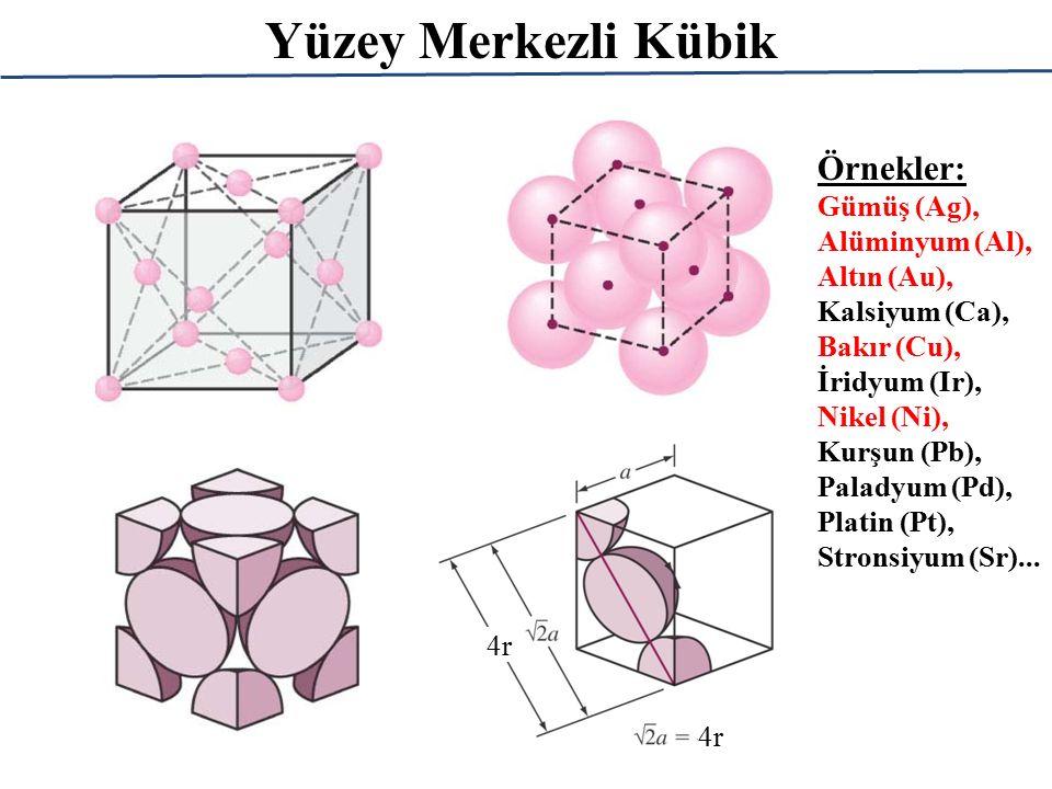 Yüzey Merkezli Kübik 4r Örnekler: Gümüş (Ag), Alüminyum (Al), Altın (Au), Kalsiyum (Ca), Bakır (Cu), İridyum (Ir), Nikel (Ni), Kurşun (Pb), Paladyum (