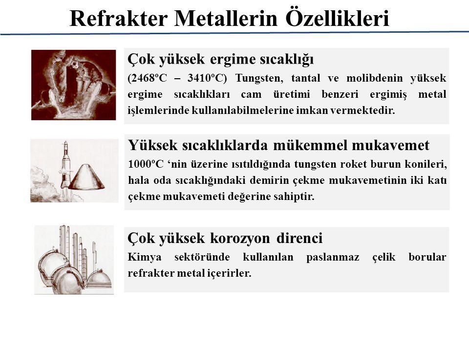 Refrakter Metallerin Özellikleri Çok yüksek ergime sıcaklığı (2468ºC – 3410ºC) Tungsten, tantal ve molibdenin yüksek ergime sıcaklıkları cam üretimi benzeri ergimiş metal işlemlerinde kullanılabilmelerine imkan vermektedir.