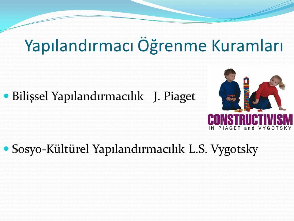 Yapılandırmacı Öğrenme Kuramları Bilişsel Yapılandırmacılık J. Piaget Sosyo-Kültürel Yapılandırmacılık L.S. Vygotsky