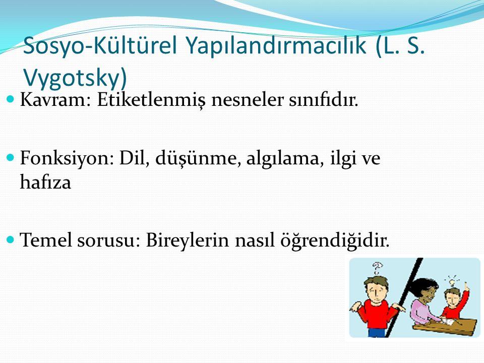 Sosyo-Kültürel Yapılandırmacılık (L. S. Vygotsky) Kavram: Etiketlenmiş nesneler sınıfıdır. Fonksiyon: Dil, düşünme, algılama, ilgi ve hafıza Temel sor