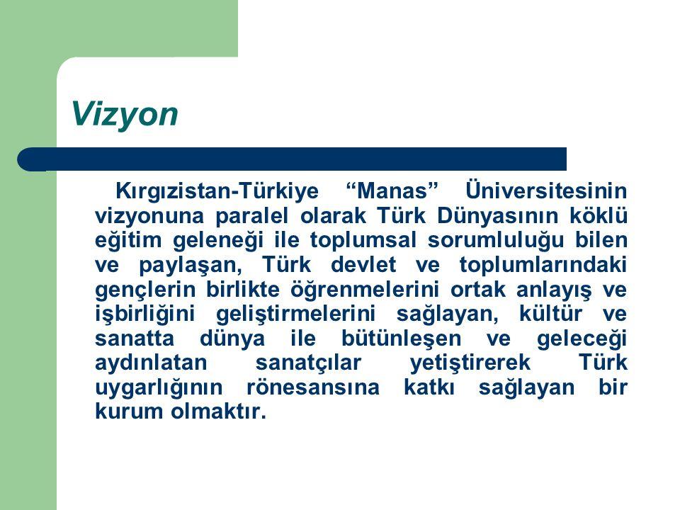 """Vizyon Kırgızistan-Türkiye """"Manas"""" Üniversitesinin vizyonuna paralel olarak Türk Dünyasının köklü eğitim geleneği ile toplumsal sorumluluğu bilen ve p"""