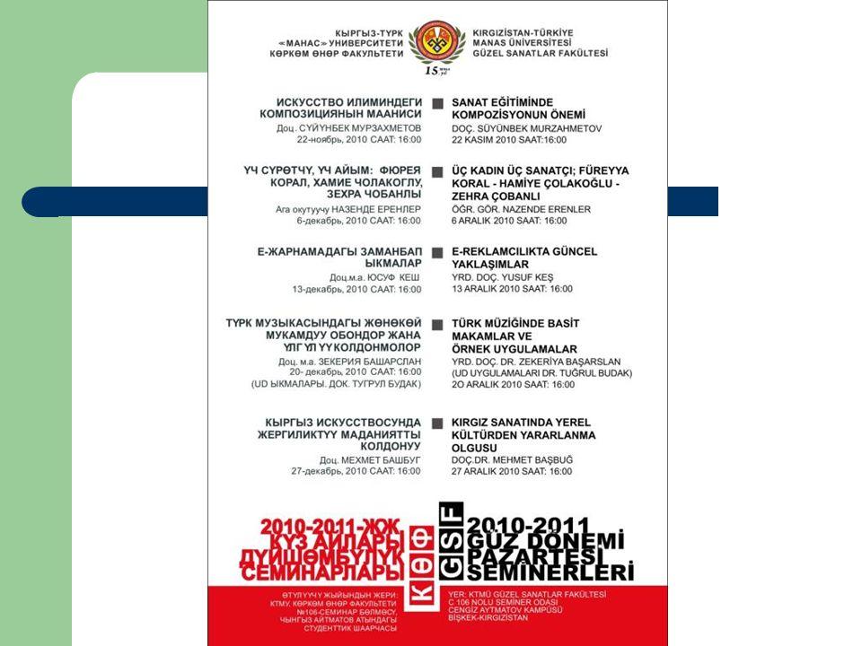 Mart 2011 Uluslar arası İlişkiler Öğrenci Klübü Kırgız – Japon İlişkilerini geliştirmek amacıyla düzenlenen konferansta öğrencilerimiz sergi açtı.