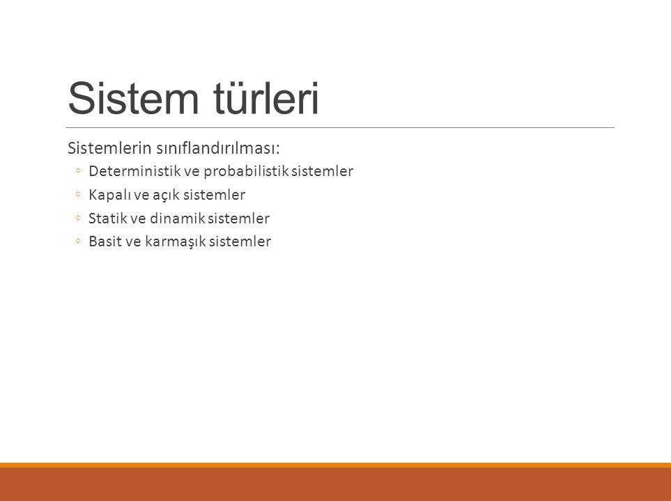Sistem türleri Sistemlerin sınıflandırılması: ◦Deterministik ve probabilistik sistemler ◦Kapalı ve açık sistemler ◦Statik ve dinamik sistemler ◦Basit