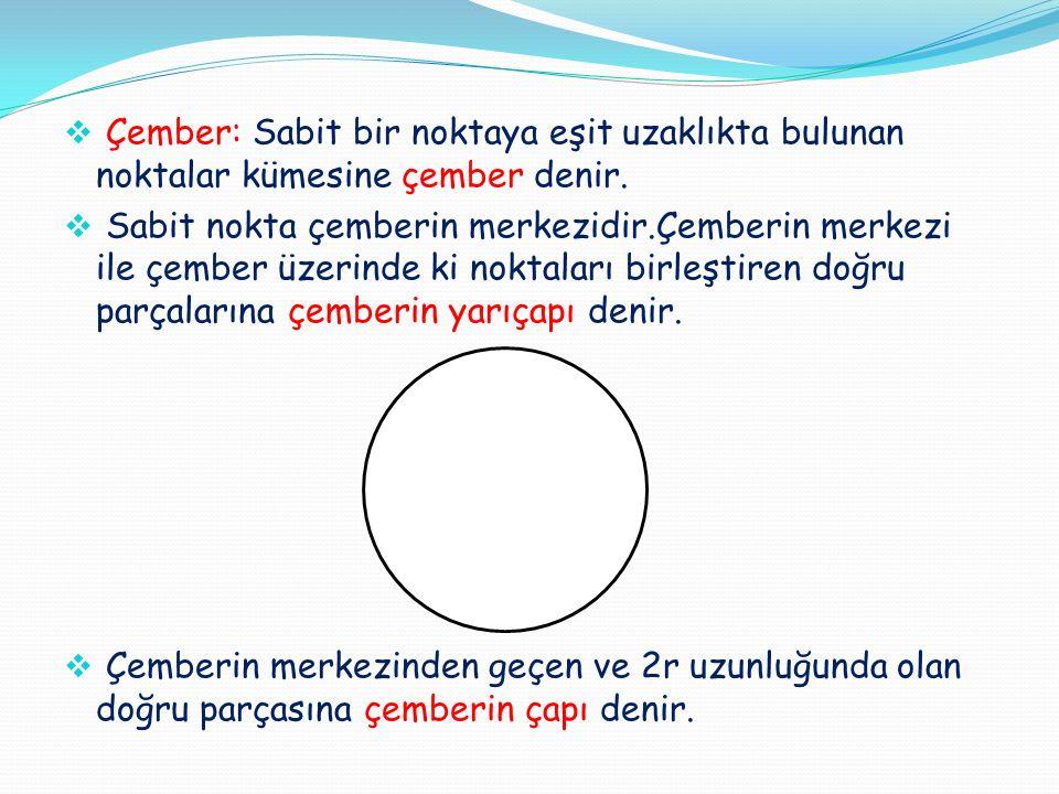  Çember: Sabit bir noktaya eşit uzaklıkta bulunan noktalar kümesine çember denir.  Sabit nokta çemberin merkezidir.Çemberin merkezi ile çember üzeri
