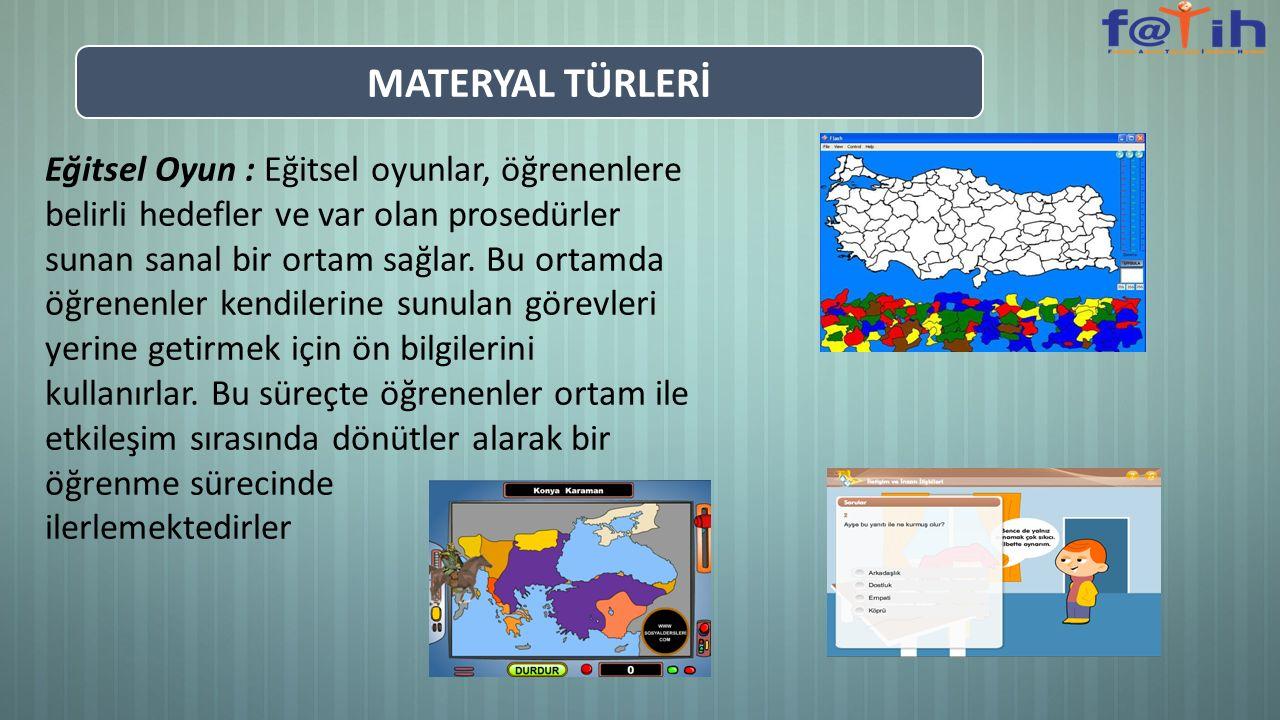 Eğitsel Oyun : Eğitsel oyunlar, öğrenenlere belirli hedefler ve var olan prosedürler sunan sanal bir ortam sağlar. Bu ortamda öğrenenler kendilerine s