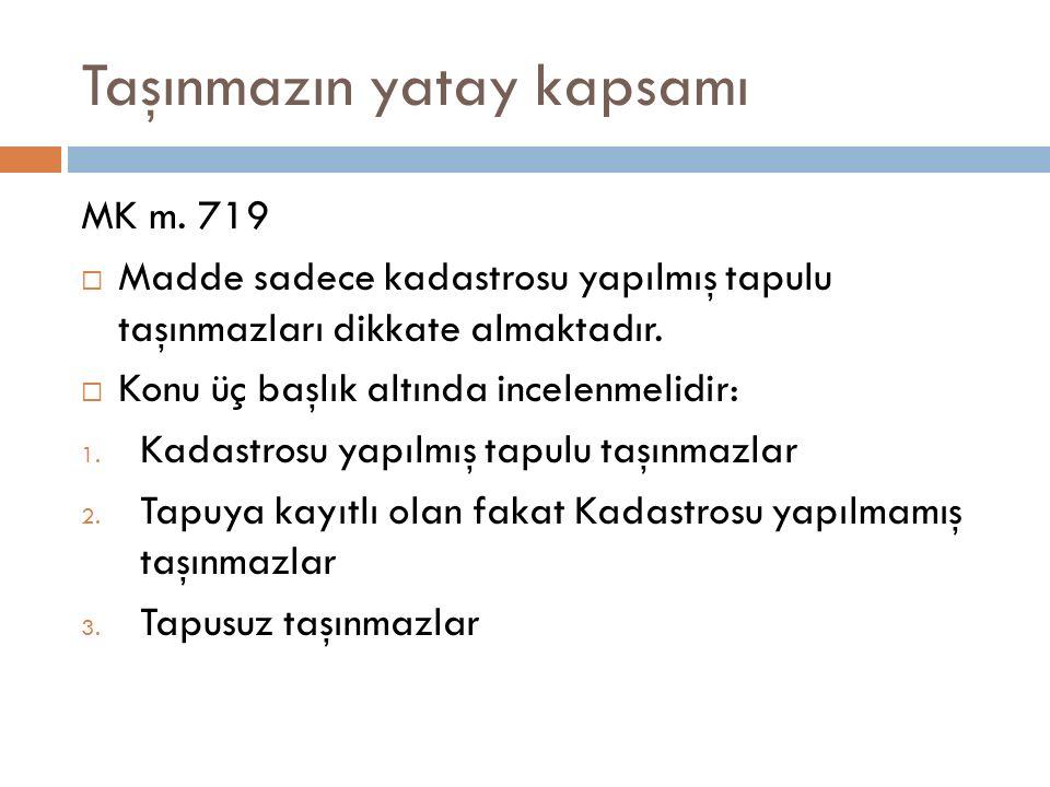 Taşınmazın yatay kapsamı MK m. 719  Madde sadece kadastrosu yapılmış tapulu taşınmazları dikkate almaktadır.  Konu üç başlık altında incelenmelidir: