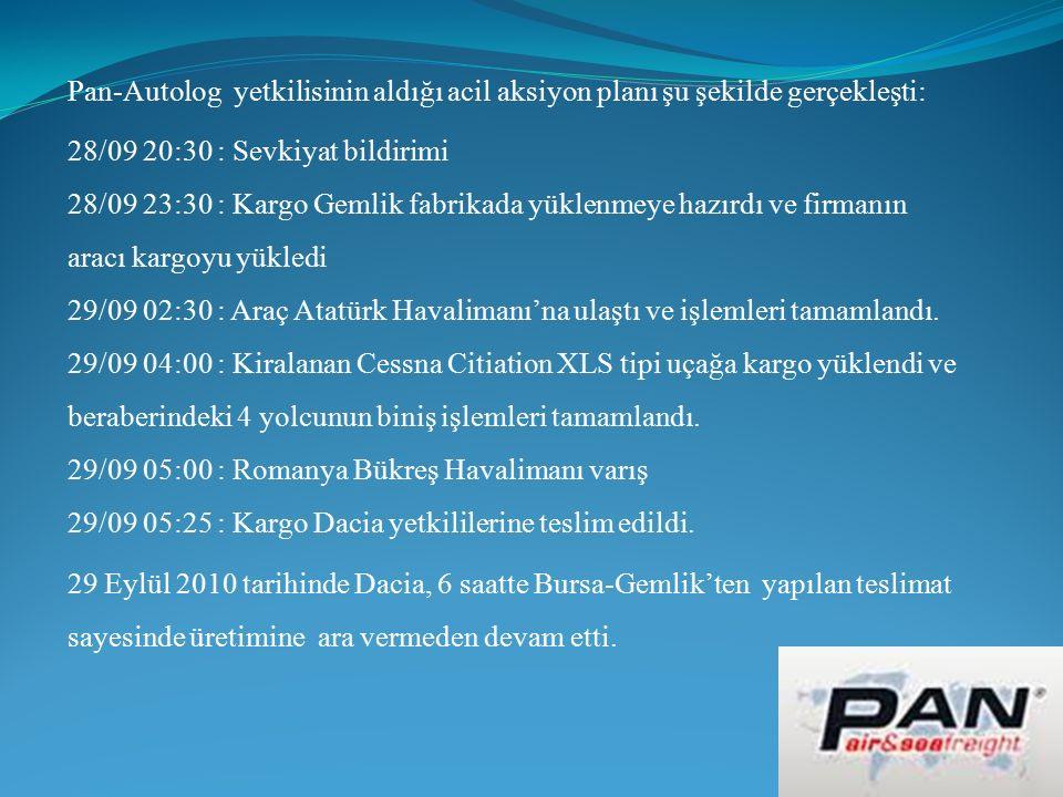 Pan-Autolog yetkilisinin aldığı acil aksiyon planı şu şekilde gerçekleşti: 28/09 20:30 : Sevkiyat bildirimi 28/09 23:30 : Kargo Gemlik fabrikada yüklenmeye hazırdı ve firmanın aracı kargoyu yükledi 29/09 02:30 : Araç Atatürk Havalimanı'na ulaştı ve işlemleri tamamlandı.