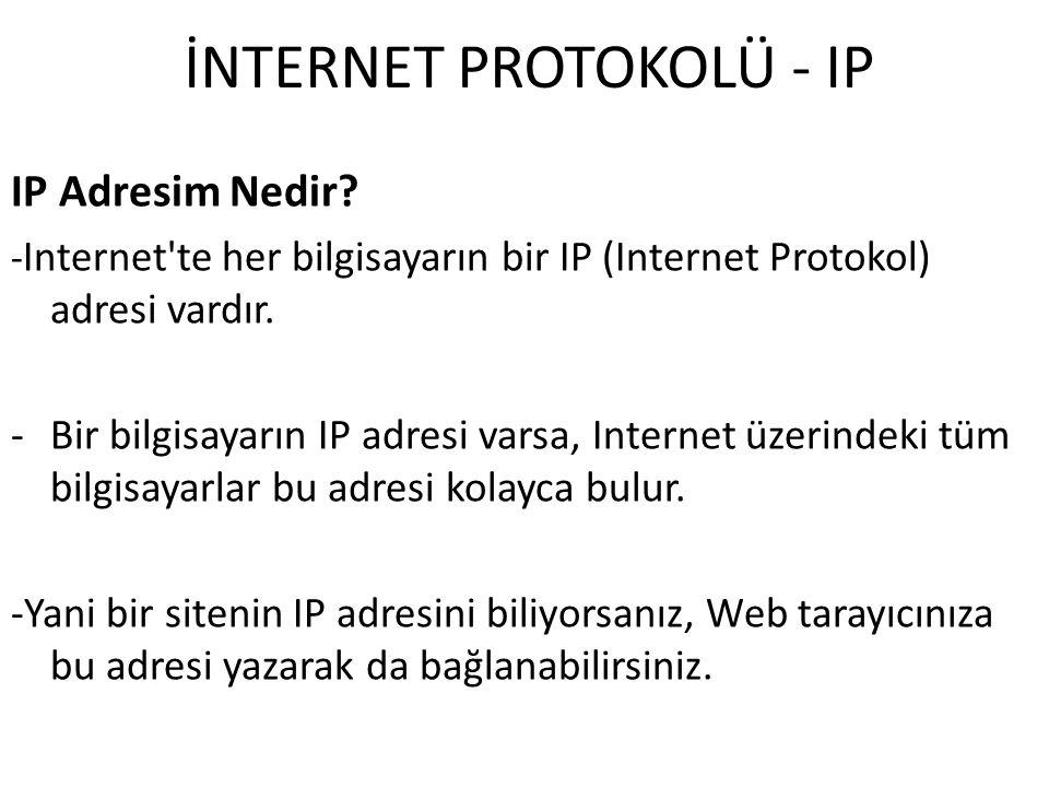 İNTERNET PROTOKOLÜ - IP IP Adresim Nedir? - Internet'te her bilgisayarın bir IP (Internet Protokol) adresi vardır. -Bir bilgisayarın IP adresi varsa,