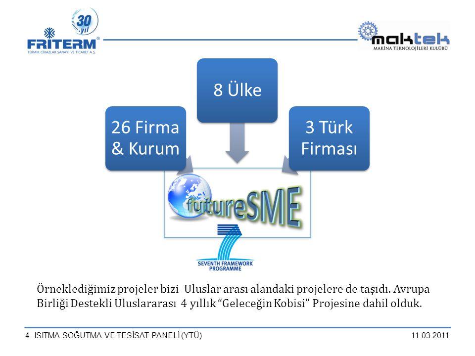 4. ISITMA SOĞUTMA VE TESİSAT PANELİ (YTÜ)11.03.2011 Örneklediğimiz projeler bizi Uluslar arası alandaki projelere de taşıdı. Avrupa Birliği Destekli U