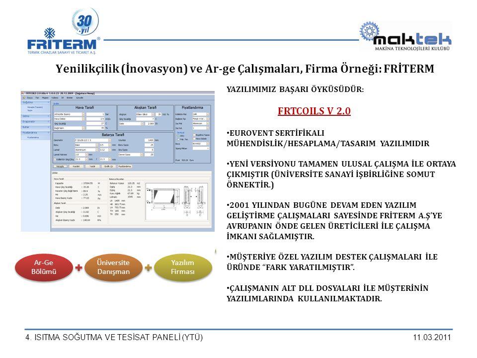 4. ISITMA SOĞUTMA VE TESİSAT PANELİ (YTÜ)11.03.2011 Ar-Ge Bölümü Üniversite Danışman Yazılım Firması YAZILIMIMIZ BAŞARI ÖYKÜSÜDÜR: FRTCOILS V 2.0 EURO
