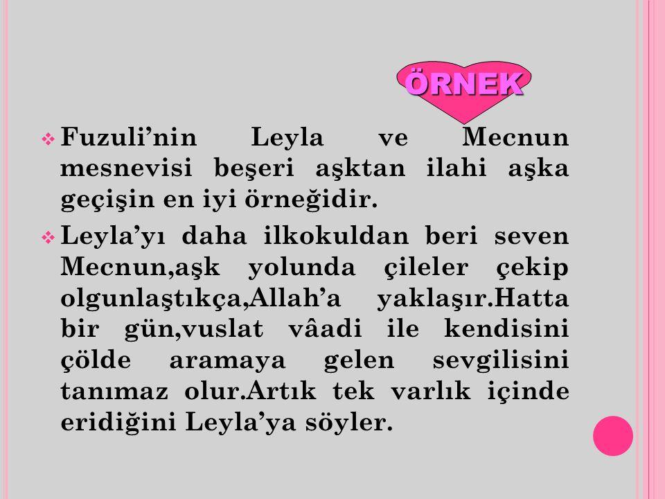  Fuzuli'nin Leyla ve Mecnun mesnevisi beşeri aşktan ilahi aşka geçişin en iyi örneğidir.  Leyla'yı daha ilkokuldan beri seven Mecnun,aşk yolunda çil