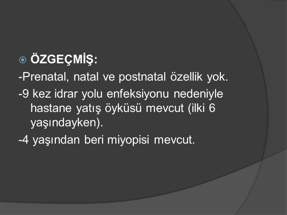  Serum Mg: 0,82 mg/dl (1,6-2,6)  İ-Ca: 0,94 mmol/L (1,15-1,29)  24 saatlik idrarda Mg: (<0,46 mmol/gün) 13.01.16: 4,62 mmol/gün 18.01.16: 3,27 mmol/gün