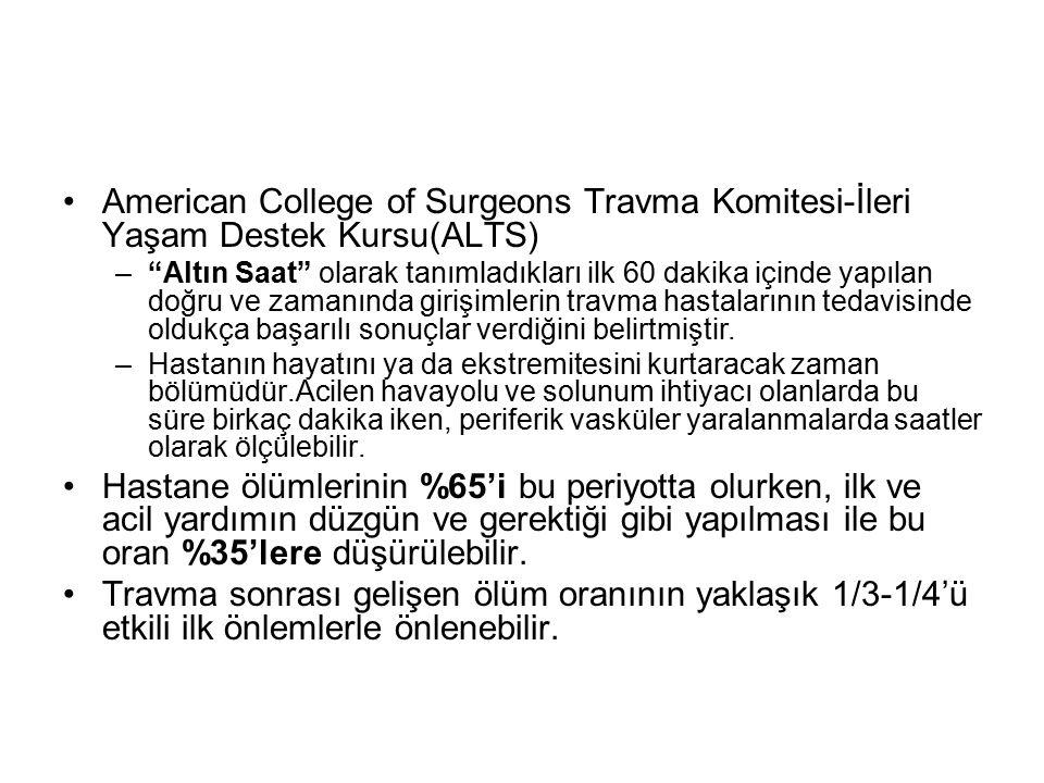"""American College of Surgeons Travma Komitesi-İleri Yaşam Destek Kursu(ALTS) –""""Altın Saat"""" olarak tanımladıkları ilk 60 dakika içinde yapılan doğru ve"""
