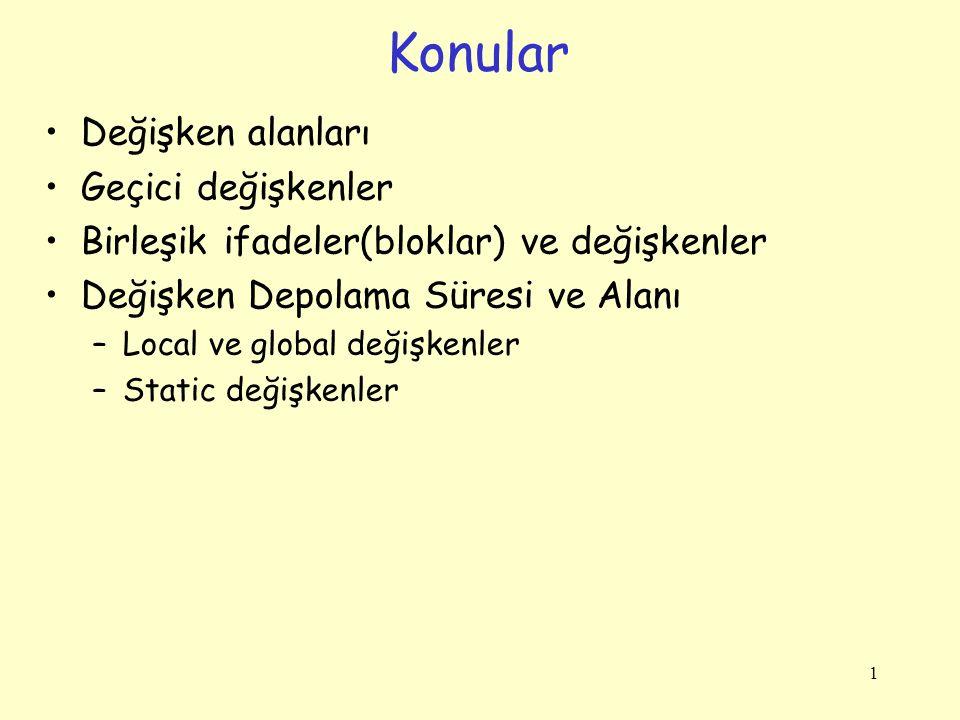 1 Değişken alanları Geçici değişkenler Birleşik ifadeler(bloklar) ve değişkenler Değişken Depolama Süresi ve Alanı –Local ve global değişkenler –Static değişkenler Konular