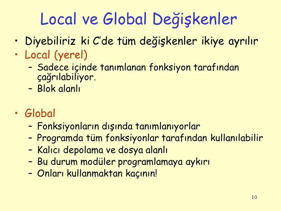 10 Local ve Global Değişkenler Diyebiliriz ki C'de tüm değişkenler ikiye ayrılır Local (yerel) –Sadece içinde tanımlanan fonksiyon tarafından çağrılab