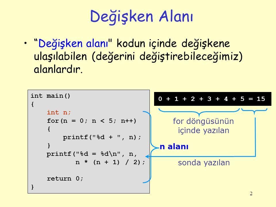 2 Değişken Alanı Değişken alanı kodun içinde değişkene ulaşılabilen (değerini değiştirebileceğimiz) alanlardır.
