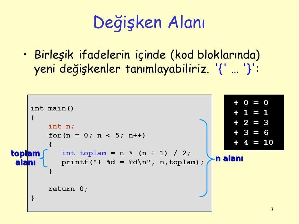 3 Değişken Alanı Birleşik ifadelerin içinde (kod bloklarında) yeni değişkenler tanımlayabiliriz. '{' … '}': int main() { int n; for(n = 0; n < 5; n++)