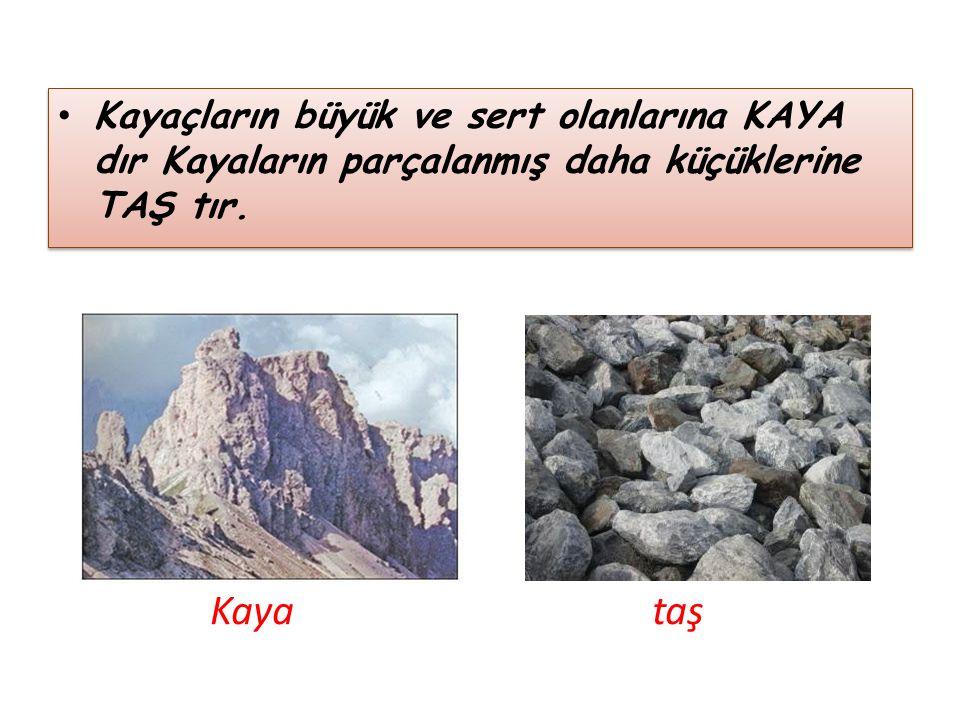 Kayaçların büyük ve sert olanlarına KAYA dır Kayaların parçalanmış daha küçüklerine TAŞ tır. Kaya taş