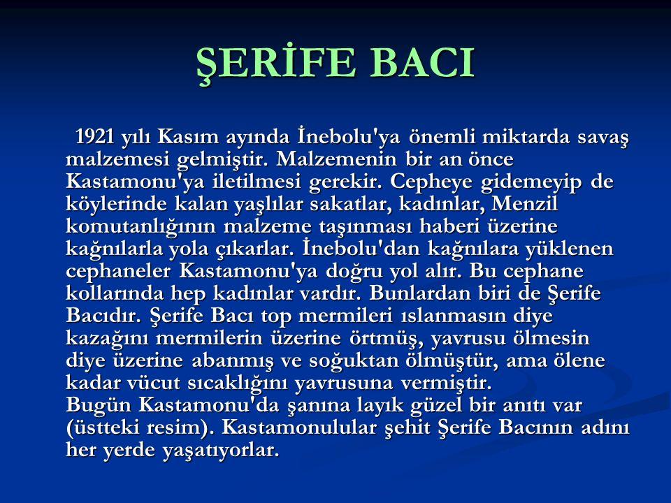 ŞERİFE BACI 1921 yılı Kasım ayında İnebolu'ya önemli miktarda savaş malzemesi gelmiştir. Malzemenin bir an önce Kastamonu'ya iletilmesi gerekir. Cephe