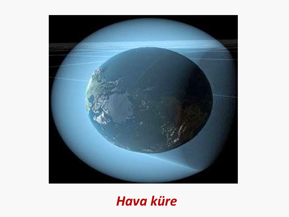 Hava kürede: toz, su buharı, oksijen, azot vb.gazlar vardır.