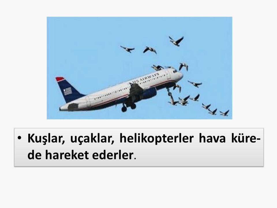 Kuşlar, uçaklar, helikopterler hava küre- de hareket ederler.