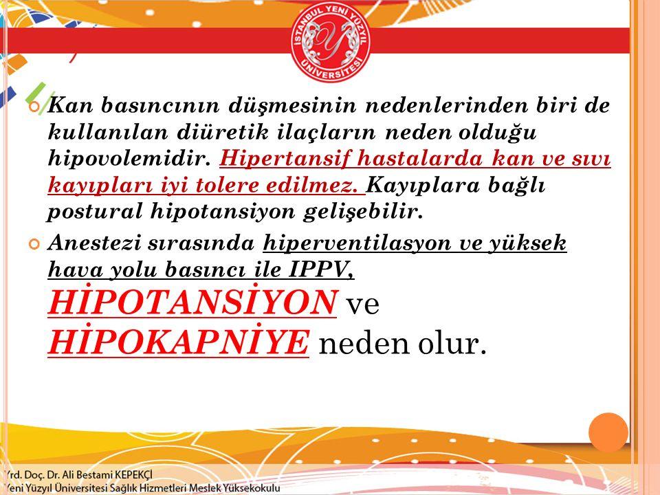 Kan basıncının düşmesinin nedenlerinden biri de kullanılan diüretik ilaçların neden olduğu hipovolemidir. Hipertansif hastalarda kan ve sıvı kayıpları