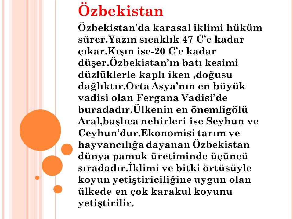 Özbekistan Özbekistan'da karasal iklimi hüküm sürer.Yazın sıcaklık 47 C'e kadar çıkar.Kışın ise-20 C'e kadar düşer.Özbekistan'ın batı kesimi düzlüklerle kaplı iken,doğusu dağlıktır.Orta Asya'nın en büyük vadisi olan Fergana Vadisi'de buradadır.Ülkenin en önemligölü Aral,başlıca nehirleri ise Seyhun ve Ceyhun'dur.Ekonomisi tarım ve hayvancılığa dayanan Özbekistan dünya pamuk üretiminde üçüncü sıradadır.İklimi ve bitki örtüsüyle koyun yetiştiriciliğine uygun olan ülkede en çok karakul koyunu yetiştirilir.