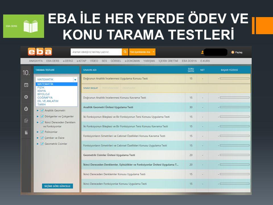 EBA İLE HER YERDE ÖDEV VE KONU TARAMA TESTLERİ