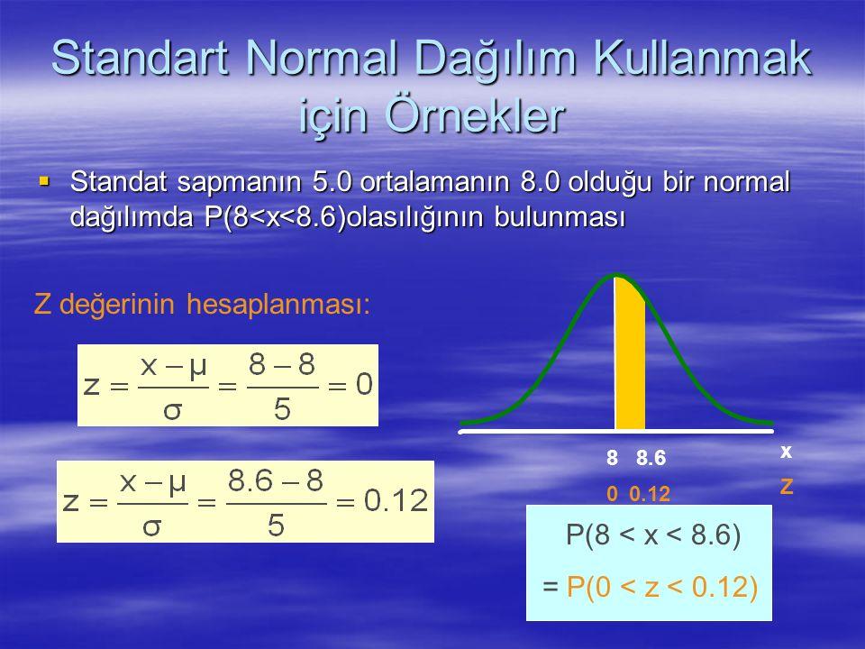 Standart Normal Dağılım Kullanmak için Örnekler  Standat sapmanın 5.0 ortalamanın 8.0 olduğu bir normal dağılımda P(8<x<8.6)olasılığının bulunması P(