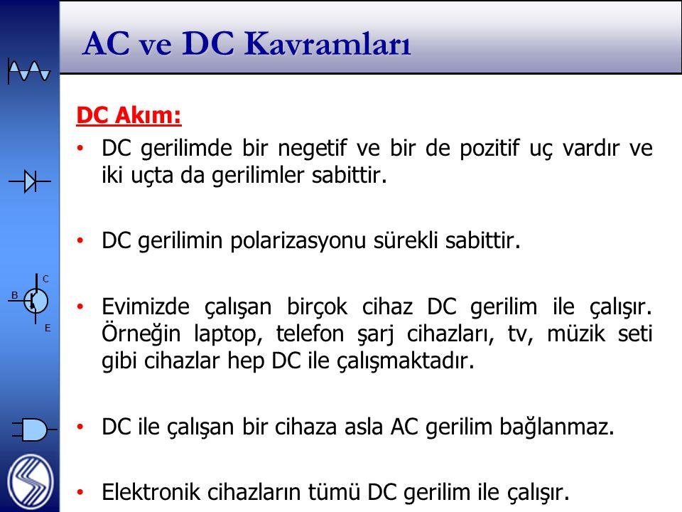 C E B AC ve DC Kavramları DC Akım: DC gerilimde bir negetif ve bir de pozitif uç vardır ve iki uçta da gerilimler sabittir.