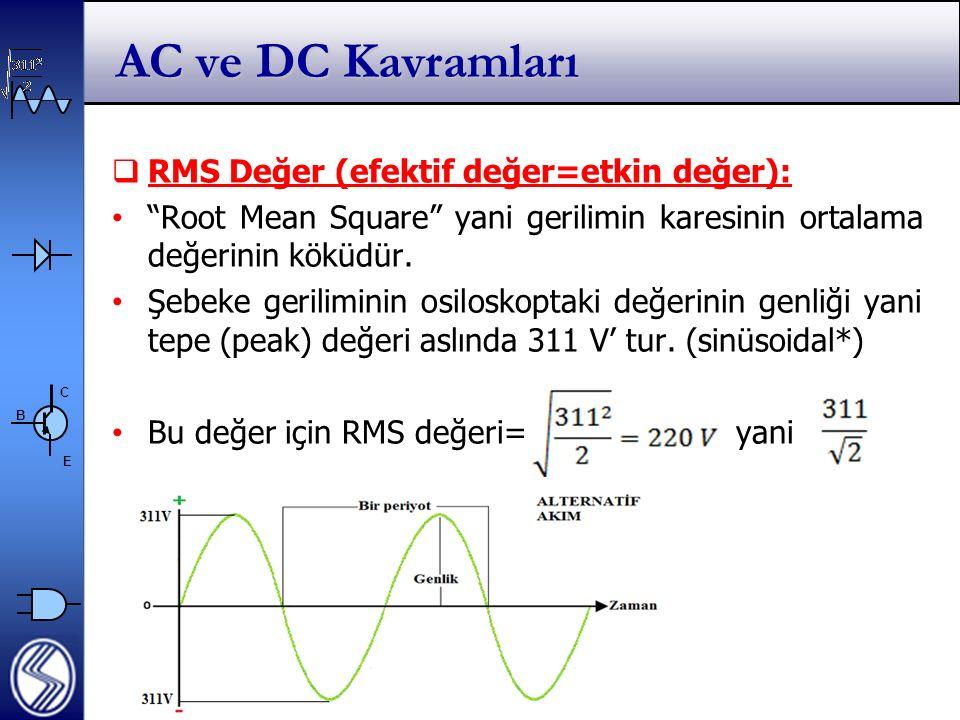 C E B AC ve DC Kavramları  RMS Değer (efektif değer=etkin değer): Root Mean Square yani gerilimin karesinin ortalama değerinin köküdür.